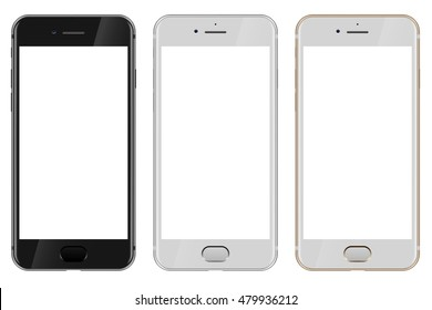 Front view of black, white and gold modern smartphone with blank white screen  isolated on white background. Vector EPS10 template.