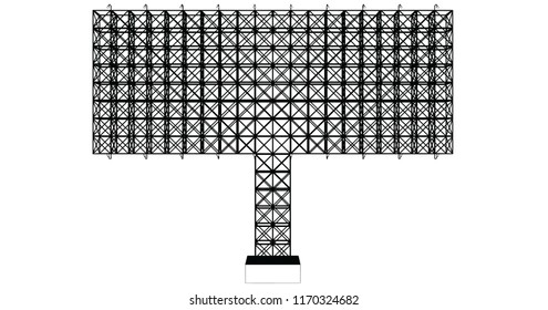 Front view of blank advertising billboard steel structure can be use for advertising design or send message to public or any purpose on pubic relations or PR isolated on white background.