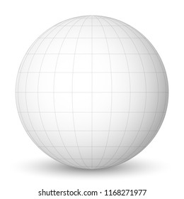 Front view of blank planet Earth white globe with grid of meridians and parallels, or latitude and longitude. 3D vector illustration.