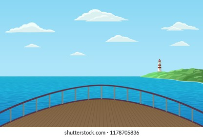 front view of bow ship sailing in sea with lighthouse on shore and blue sky background in flat icon design