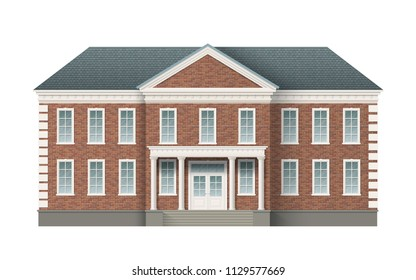 Front view of brick administrative governmental building with grey roof. Traditional classic architecture of building with beautiful entrance and columns. Realistic vector illustration.