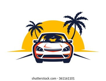 Front View Car Driving at Sunset in a Beach Logo Illustrations in Vector Graphics