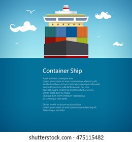 Front View of the Cargo Container Ship at Sea, Industrial Marine Vessel with Containers on Board, International Freight Transportation, Poster Brochure Flyer Design, Vector Illustration
