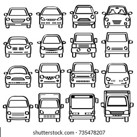 front view of cars - line drawing like pen sketch -