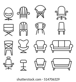 Front view  Chair icon set in thin line style