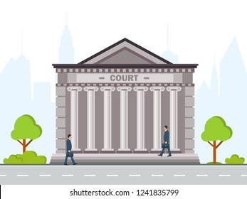 Front view of court house or governmental institution grey brick public building with grey columns Flat style vector moderen illustration