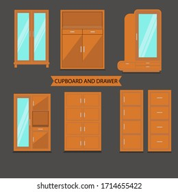Front View Cupboard and Drawer. Colored Cupboard. Cupboard Icon set