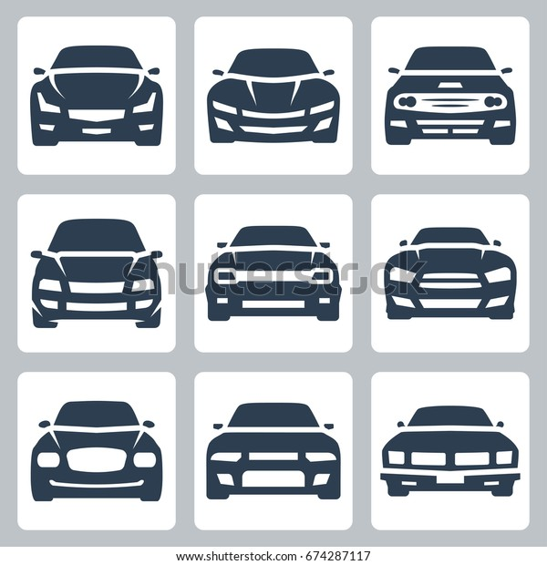 Front View Different Cars Vector Icon Stock Vector Royalty Free