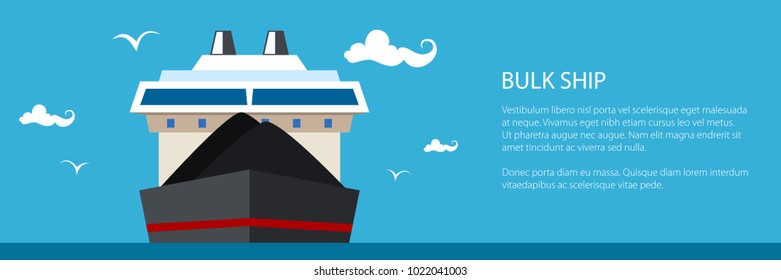 Front View of the Dry Cargo Ship, Industrial Marine Vessel is Transporting Coal and Ore, Banner with International Freight Transportation, Vector Illustration