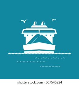 Front View of the Dry Cargo Ship Isolated on Green Background, Industrial Marine Vessel is Transporting Coal and Ore, International Freight Transportation, Vector Illustration