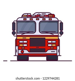 Front view of fire engine car with lights. Line style vector illustration. Vehicle and transport banner. Modern firefighter american car. 911 truck with firefighter. Emergency fire engine vehicle.