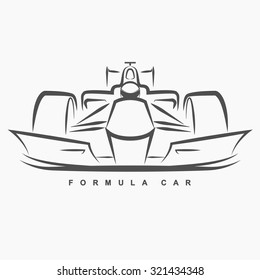 Front view of formula one hand draw logo on gray background.(EPS10 Art vector)