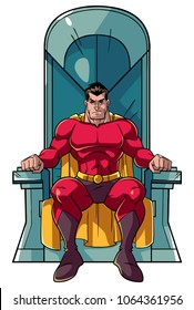 Front view full length illustration of a cartoon superhero sitting on an iron throne as a positive concept for power and leadership isolated on white background for copy space.