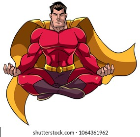 Front view full length illustration of a superhero sitting in lotus position while meditating during yoga practice isolated on white background for copy space