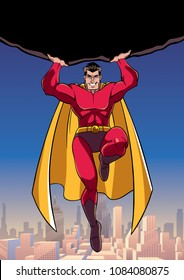 Front view full length illustration of powerful and brave superhero holding huge boulder above his head while flying over the city.