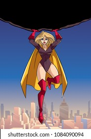Front view full length illustration of powerful and brave superheroine holding huge boulder above her head while flying over the city.