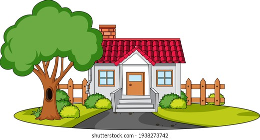Front view of a house with nature elements on white background illustration