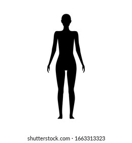 Front view human body silhouette of an adult female.