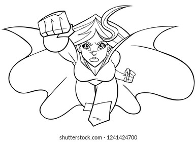 Front view Line art illustration of determined and powerful superheroine wearing cape and costume while flying against white background for copy space.