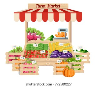 Front view market wood stand with farm food and vegetables in box with weights and price tags vector illustration isolated on white background website page and mobile app design.
