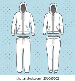 Front view of men's and women's clothing set. Blank templates of hoodi  with zipper and sweatpants. Sport style. Vector illustration on the spotted background for your fashion design.