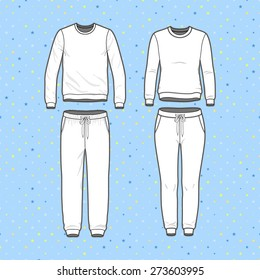 Front view of men's and women's clothing set. Blank templates of sweatshirt and sweatpants. Sport style. Vector illustration for your fashion design.