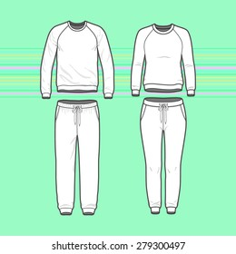 Front view of men's and women's clothing set. Blank templates of sweatshirt with raglan sleeve and sweatpants. Sport style. Vector illustration for your fashion design.