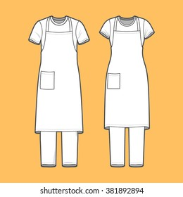 Front view of men's and women's clothing set. Blank templates of t-shirt, pants and apron.  Casual style. Vector illustration on the yellow background for your fashion design.