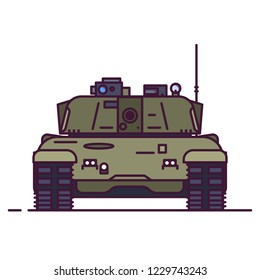 Front view of modern battle tank. Line style vector illustration. Military vehicle concept. Armored tank with barrel and turret in green and olive camouflage. Linear style.