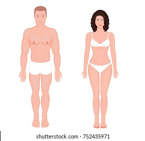Front view of naked body of European man and woman in full growth in underwear. Vector illustration for advertising, medical (health care), bodybuilding, sport publication. EPS 8