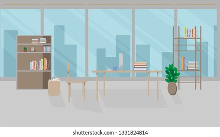 Front view of an office interior workspace with table and computer . Flat style vector illustration.