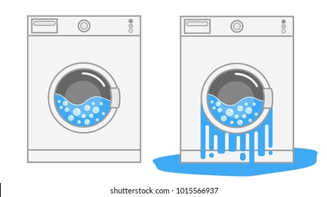 Front view on broken and repaired washing machine minimalistic colorful flat isolated vector icon illustration eps 8 10