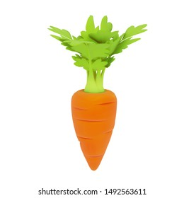 Front view of one orange-red cartoon carrot with green leaves isolated on white background. Vector illustration in 3d style.
