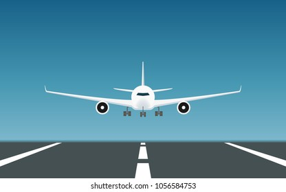 Front view of Passenger airplane landing on runway in flat icon design with blue sky background