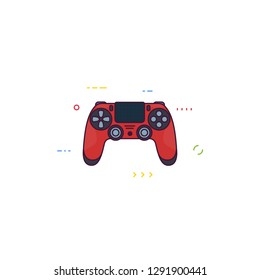 Front view of red gamepad for modern console. Line style vector illustration. Gamer controller with touchpad. Premium, red console gamepad. Line style pixel perfect illustration.