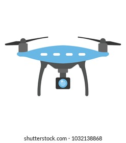 Front view remote aerial drone with a camera taking photograph or video recording