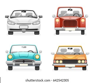 Front View Retro Modern Car Icons Set Isolated Design Transport Clipart Symbols Vector Illustration