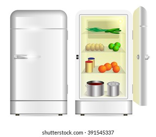 Front view of a retro refrigerator and opened refrigerator