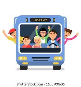 Front view of school bus with set of happy childrens and driver. Transportation student, happy trip teenager in schoolbus, vector illustration