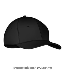 Front view set of realistic black baseball cap or hat. Mockup and blank template of baseball cap. Isolated vector illustrations set. Design template, vector eps10 illustration.