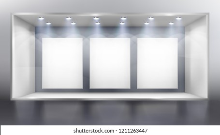Front view of shop  with display. Empty place for the exhibition. Vector illustration.