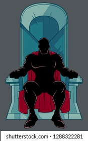 Front view silhouette illustration of cartoon man with cape, sitting on an iron throne as a positive concept for power and leadership isolated on grey background for copy space.