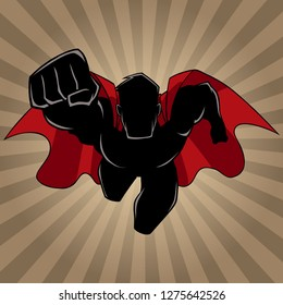 Front view silhouette illustration of determined and powerful superhero wearing red cape while flying over abstract ray light background.