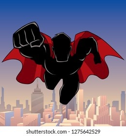 Front view silhouette illustration of determined and powerful superhero wearing red cape while flying above city.