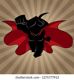 Front view silhouette illustration of determined and powerful superheroine wearing red cape while flying over abstract background.
