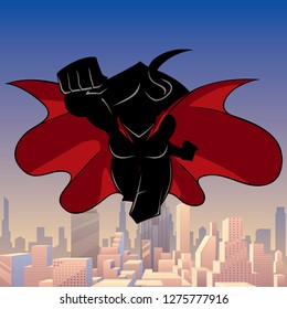 Front view silhouette illustration of determined and powerful superheroine wearing red cape while flying over city.