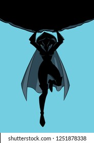 Front view silhouette illustration of powerful and brave superheroine holding a huge boulder above her head during dangerous mission.