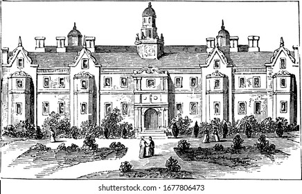 Front view of Sir Thomas More's House, it is located in Chelsea. He built this house for himself in 1520. He was Lord Chancellor to Henry VIII, vintage line drawing or engraving illustration.