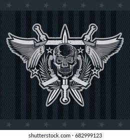 4832345fef58 Front view skull in center of wreath between with wings and crossed swords.  Vector heraldic