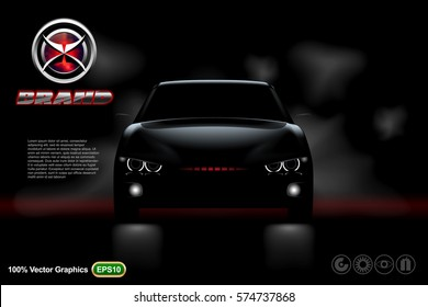 Front view Template mock up promotion with Black car on dark background, with logo and description in 3d vector illustration